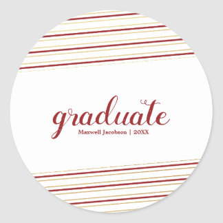 Modern Maroon & Gold Graduate Custom Stickers
