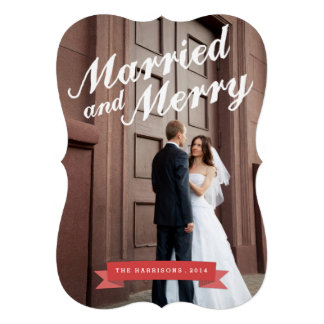Modern Married Merry Holiday Big Photo Card Personalized Invitations
