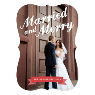 Modern Married & Merry Holiday Big Photo Card Personalized Invitations
