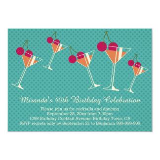 Modern Martini Cocktail 40th Birthday Party 13 Cm X 18 Cm Invitation Card
