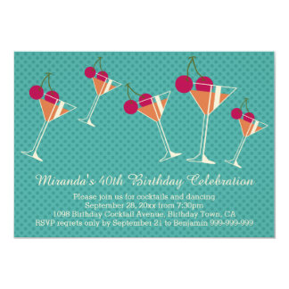 Modern Martini Cocktail 40th Birthday Party Card
