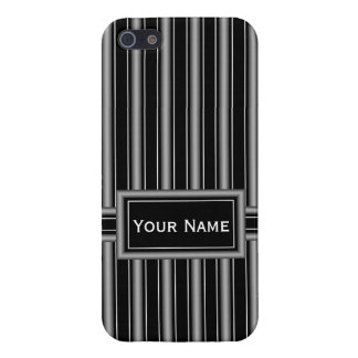 Modern Masculine Black, White and Grey Stripes Cover For iPhone 5/5S