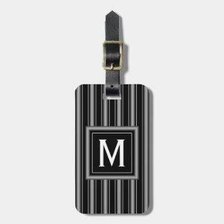 Modern Masculine Black, White and Grey Stripes Luggage Tag