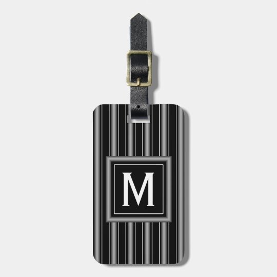 Modern Masculine Black, White and Grey Stripes Luggage