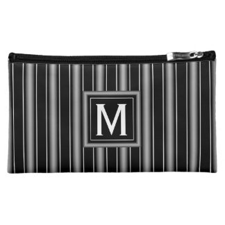 Modern Masculine Black, White and Grey Stripes Makeup Bag