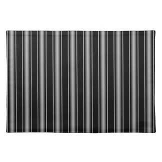 Modern Masculine Black, White and Grey Stripes Placemat