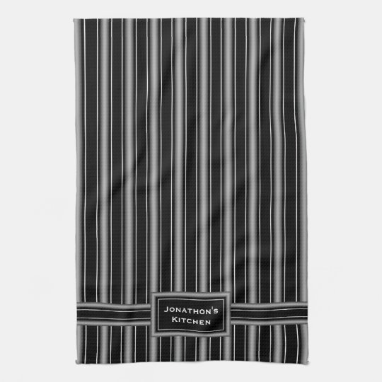 Modern Masculine Black, White and Grey Stripes Tea