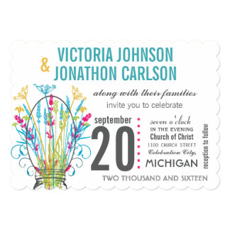 "Modern Mason Jar Coral Yellow Lime Floral Wedding 5"" X 7"" Invitation Card"