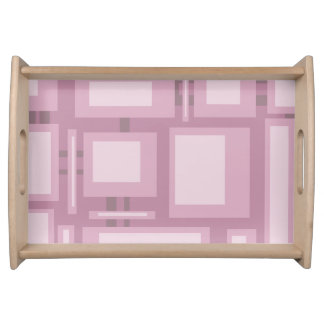Modern Mauve Abstract Rectangles Serving Tray