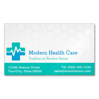 Modern Medical Health Care - White Green Blue Magnetic Business Cards