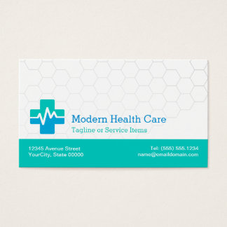 Modern Medical HealthCare - White Green Blue Business Card