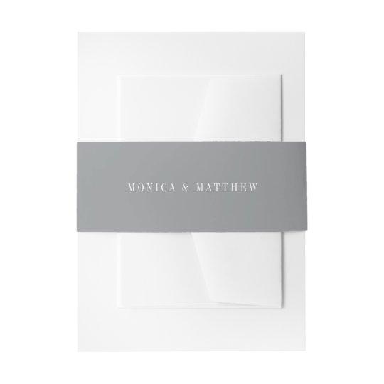 Modern Medium Grey Wedding Invitation Belly Band