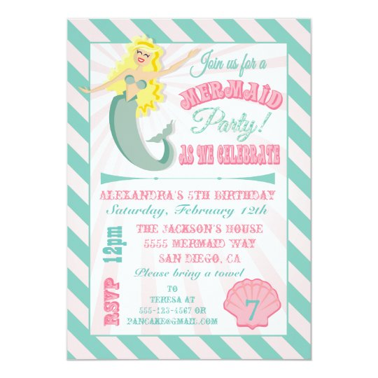 Modern Mermaid Birthday Party Invitation
