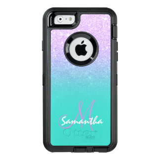 Modern mermaid lavender glitter turquoise monogram OtterBox defender iPhone case