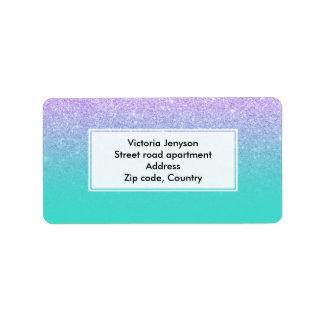 Modern mermaid lavender glitter turquoise ombre address label