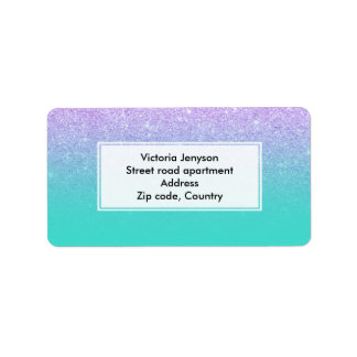 Modern mermaid lavender glitter turquoise ombre label