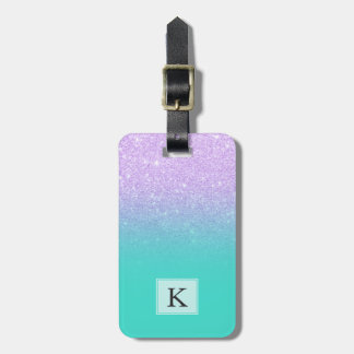 Modern mermaid lavender glitter turquoise ombre luggage tag