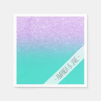 Modern mermaid lavender glitter turquoise ombre paper napkins