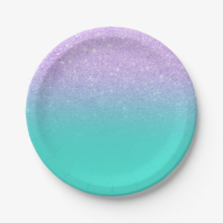 Modern mermaid lavender glitter turquoise ombre paper plate