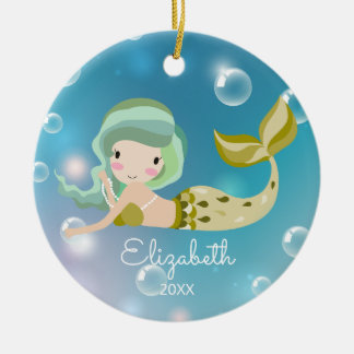 Modern Mermaid Personalized Christmas Ornament