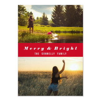 Modern Merry And Bright Two Photos Holiday Red Card
