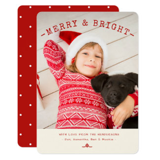Modern Merry & Bright Red | White Photo Card