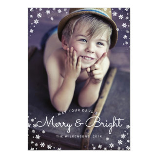 Modern Merry & Bright Snowflake Holiday Photo Card