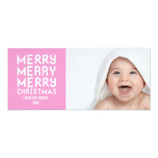 MODERN MERRY CHRISTMAS 2 PHOTOS CARD PINK 10 CM X 24 CM INVITATION CARD