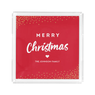 Modern Merry Christmas Acrylic Tray