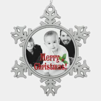 Modern Merry Christmas and Holly Custom Photo Snowflake Pewter Christmas Ornament