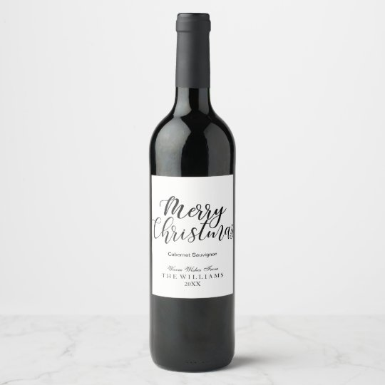 Modern Merry Christmas Black and White Holiday Wine Label