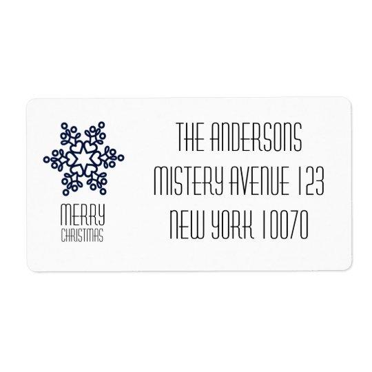 Modern Merry Christmas Blue Snowflake