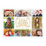 Modern Merry Christmas Collage Holidays Photo Card Custom Invitations