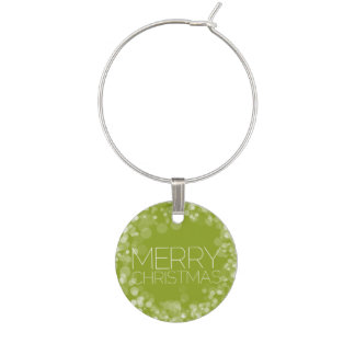 Modern Merry Christmas Green Bokeh Personalized Wine Glass Charm