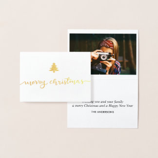 Modern Merry Christmas Hand-lettered Script Photo Foil Card