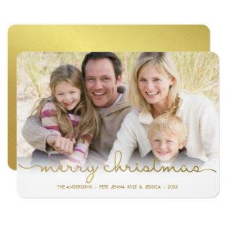 Modern Merry Christmas Hand Script Flat Photo Card
