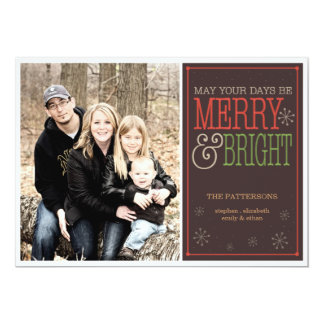 Modern Merry Christmas Happy New Year Photo Card 13 Cm X 18 Cm Invitation Card