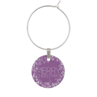 Modern Merry Christmas Orchid Bokeh Personalized Wine Glass Charms