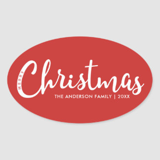 Modern Merry Christmas Oval Sticker