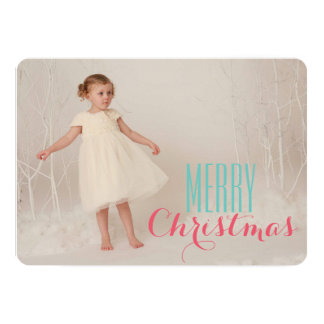 Modern Merry Christmas Pink and Turquoise Card 13 Cm X 18 Cm Invitation Card