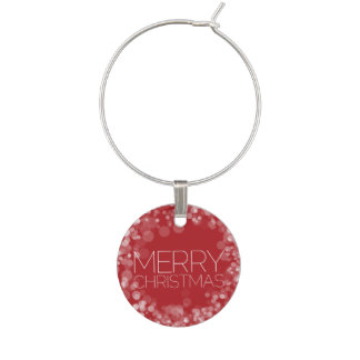 Modern Merry Christmas Red Bokeh Personalized Wine Charm