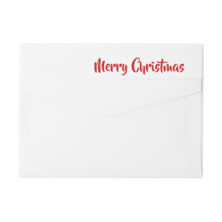 Modern Merry Christmas Red Holiday Script Wrap Around Label