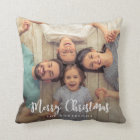 Modern Merry Christmas Script | Holiday Photo Cushion