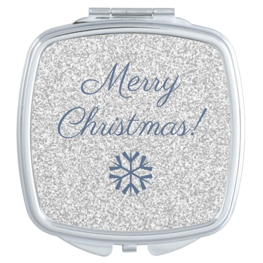 Modern Merry Christmas Silver Grey Glitter Mirrors For Makeup