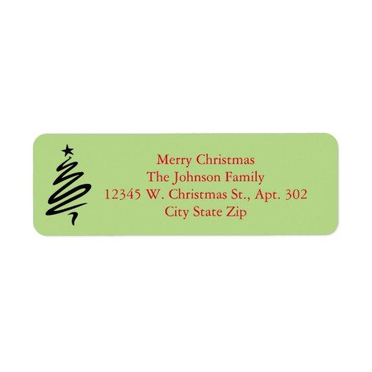 Modern Merry Christmas Tree Red Green Custom Name Return Address Label