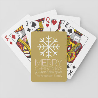 Modern Merry Christmas Winter Snowflake - gold Playing Cards