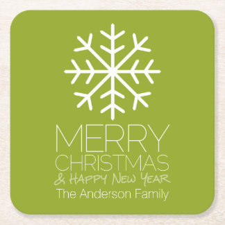 Modern Merry Christmas Winter Snowflake - green Square Paper Coaster