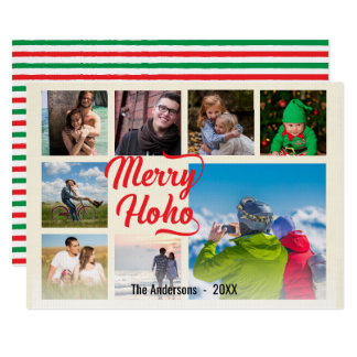Modern Merry Hoho Red Script Collage Card
