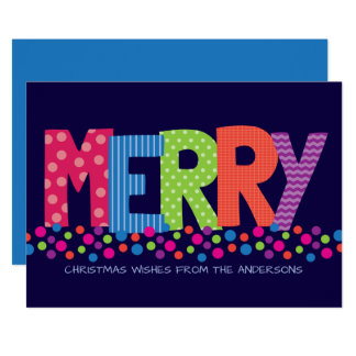 Modern MERRY Making Colourful Holiday Greeting Card