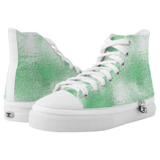Modern Metallic Abstract Shiny Mint Printed Shoes